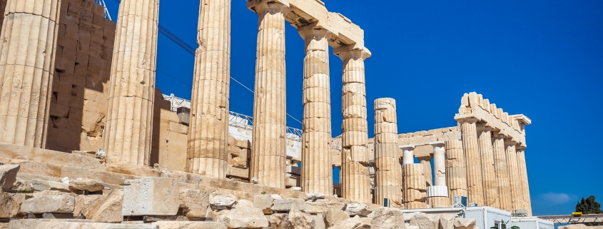 Parthenon temple on a sunny day. Acropolis in Athens, Greece